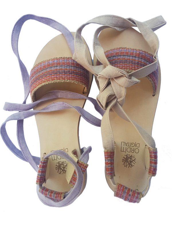sandalo schiava artigianale tessitura al telaio
